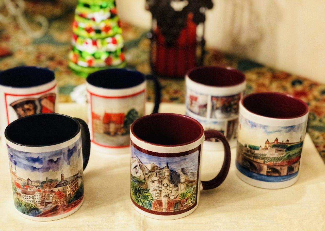 Watercolor coffee mugs by GermaniaDesign.com